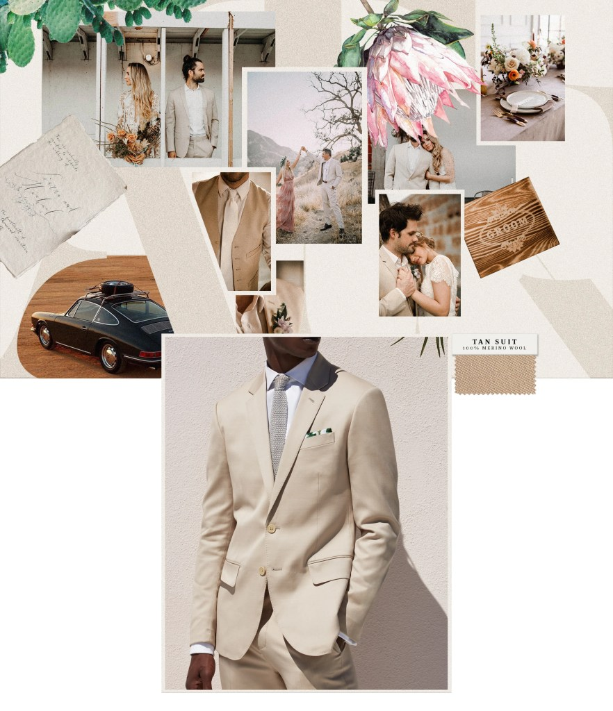 Tan suits are on trend for grooms with summer weddings.