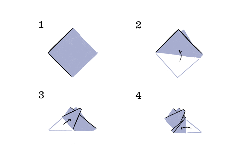 pocket square guide for folding three point fold