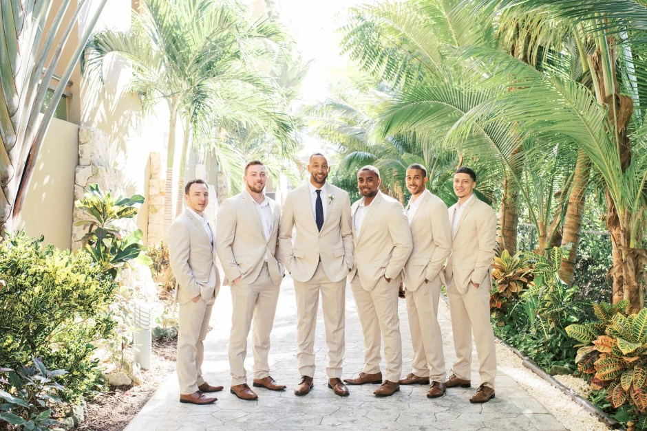 wedding party groom in casual wedding attire