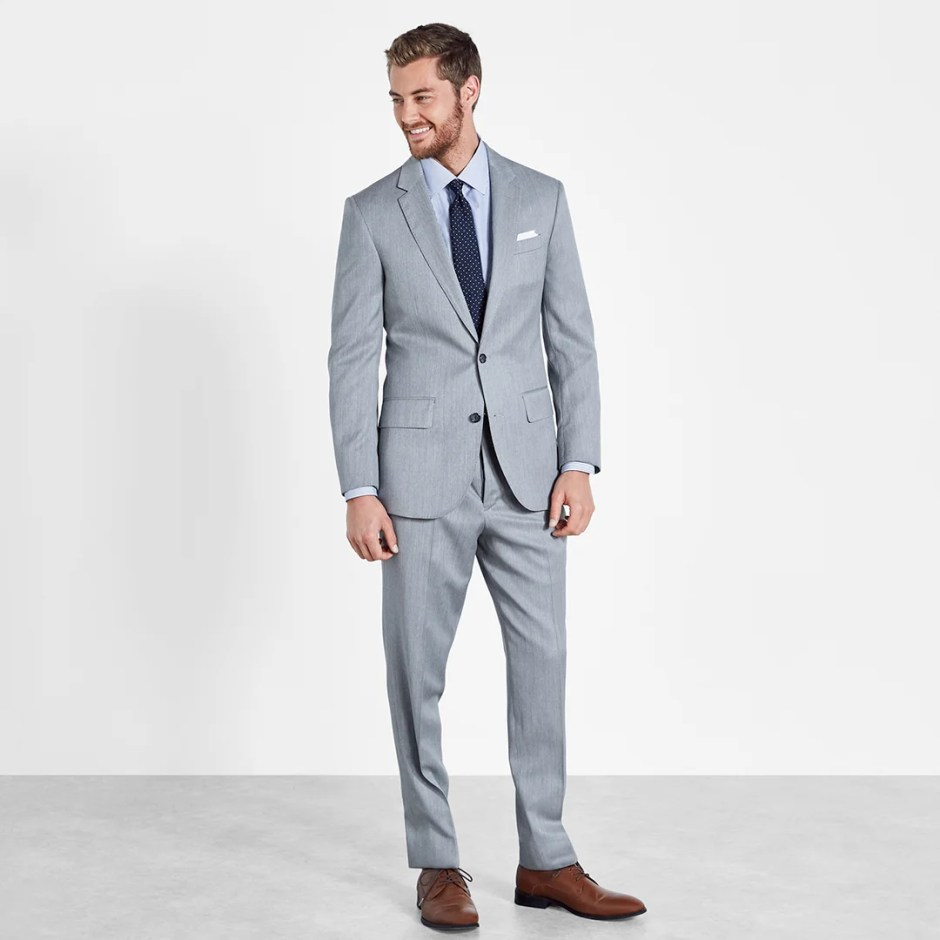 daytime casual wedding attire for guests light grey suit