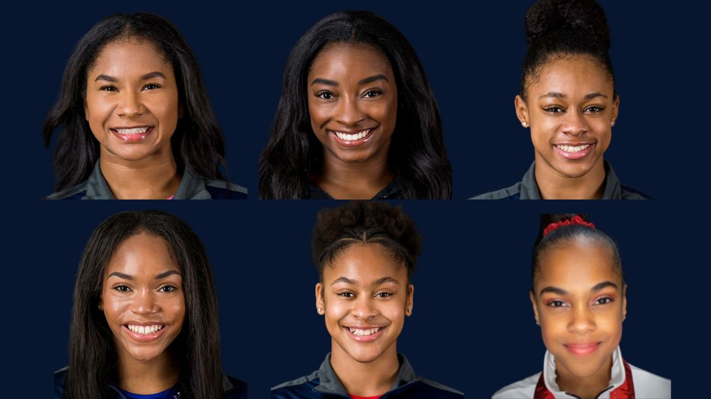 Jordan Chiles, Simone Biles, Amari Drayton, Shilese Jones, Skye Blakely, and Zoe Miller | Photo courtesy of USA Gymnastics