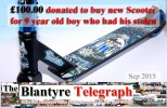 Blantyre Telegraph donated brand new Scooter to Reece McLafferty