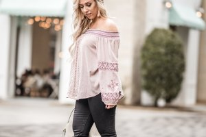 off the shoulder, black skinny jeans, city centre, blogger, fashion