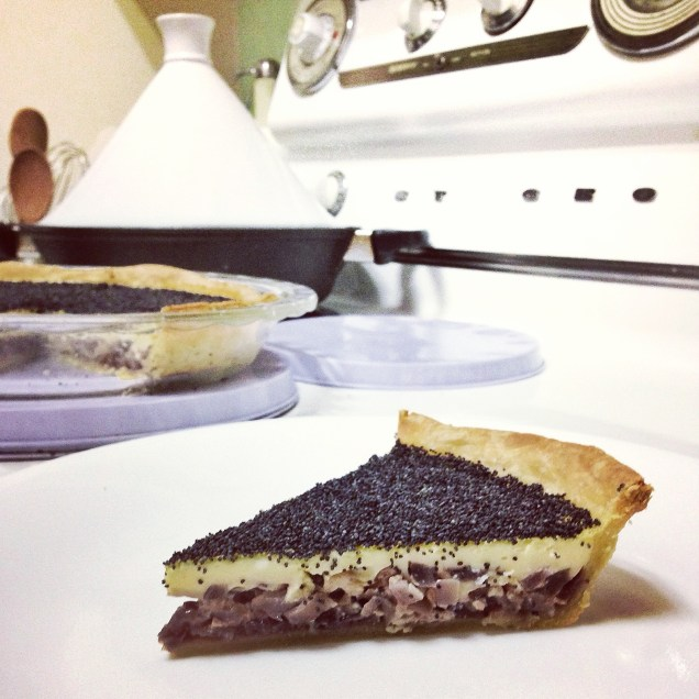 Caramelised Onion Goat Cheese Tart with a Poppy Seed Crust