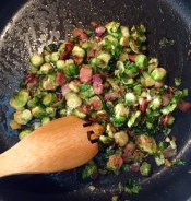 Baby Brussels Sprouts with Applewood Smoked Bacon? Yes Please! (recipe below)