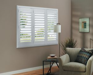 White Rear Tilt Living Room Shutters