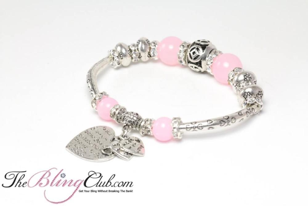 baby ballerina Pink BLING pandora silver stretch bracelet