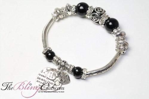 black silver stretch heart pandora bling bracelet