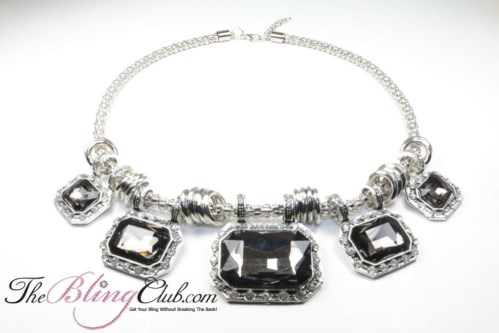 the bling club lightweight statement necklace adjustable smoky quartz stones