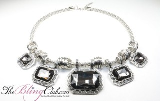 the bling club lightweight statement necklace adjustable smoky quartz stones
