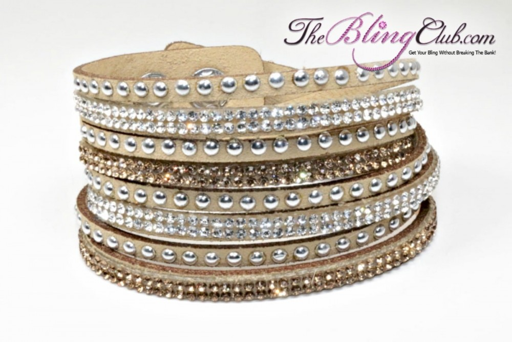 the bling club tan vegan leather swarovski crystal wrap bracelet gold and clear crystals