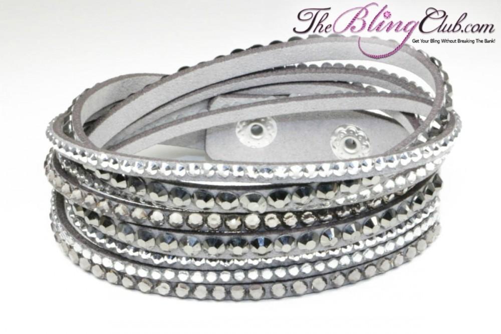GORGEOUS! Grey Vegan Leather Bling Crystal Wrap Bracelet