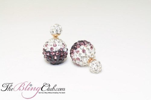royal purple stud Shamballa Bling crystal earrings