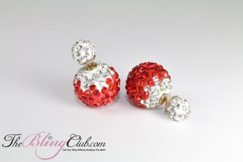 shamballa red crystal ball stud earrings theblingclub