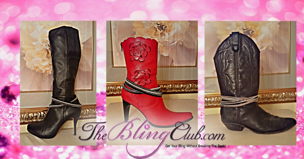 the bling club boots with wrap bracekelets as anklets