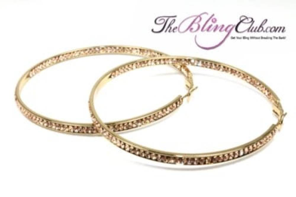 the bling club gold with champagne swaorvski crystals inside outside hoop earrimgs