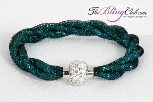 the-bling-club-stardust-magnetic-bracelet-black-mesh-teal-swarovski-crystals