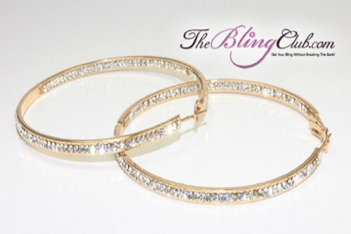 theblingclub gold swarovski crystal clear crystals inside outside hoop earrings