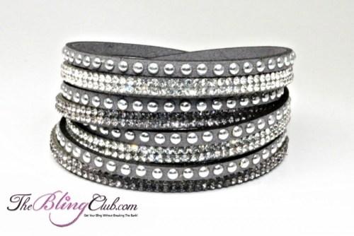theblingclub.com grey vegan leather swarovski wrap crystal bracelet silver studs