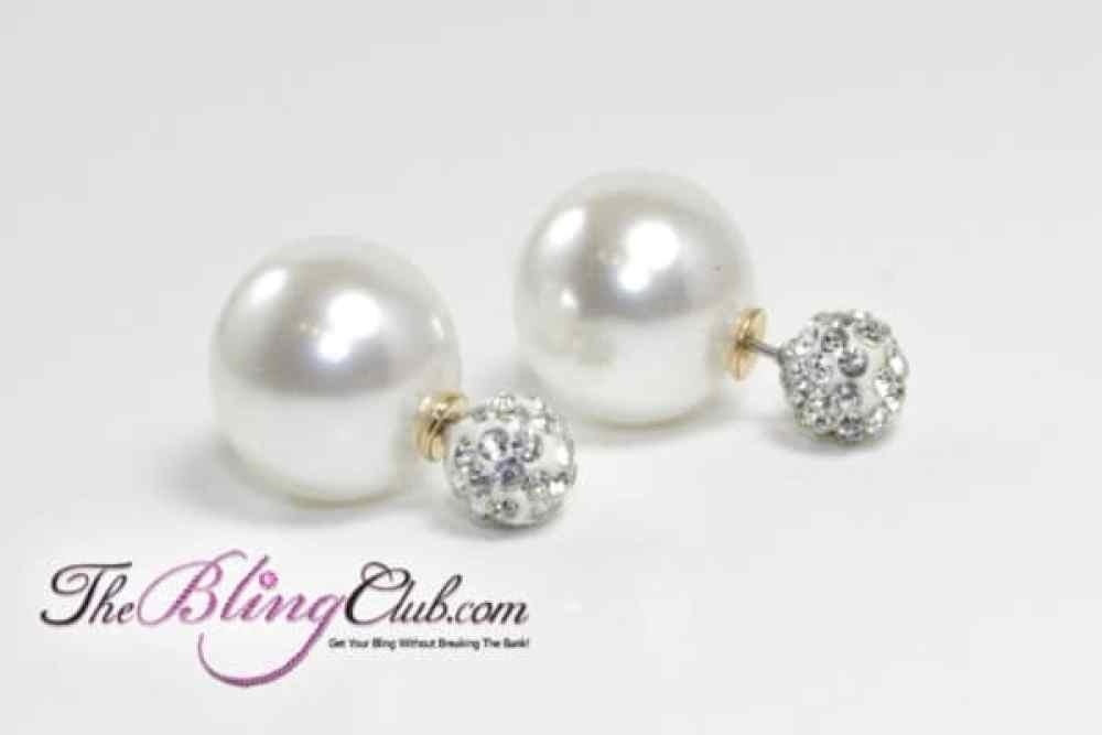 theblingclub.com white pearl shamballa crystal post earrings