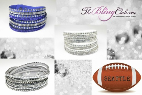 The Bling Club Seattle Seahawks NFL Football Vegan Leather swarovski Crystal Wrap Bracelet Trio