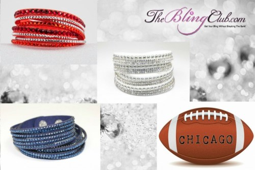 The Bling Club chicago bears NFL Football Vegan Leather swarovski Crystal Wrap Bracelet Trio