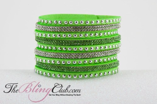 lime green vegan leather cuff from theblingclub