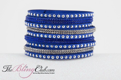 theblingclub.com royal blue vegan leather cuff bracelet crystals studs