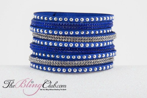 theblingclub.com royal blue vegan leather cuff bracelet crystals studs
