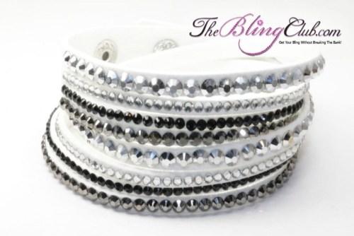 the bling club white multi swarovski crystal vegan leather wrap bracelet