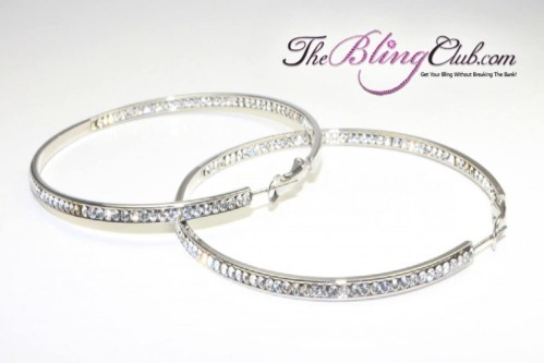 theblingclub.com swarovski crystal inside outside silver hoop earrings