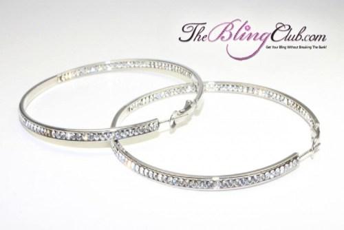 theblingclub.com swarovski crystal inside outside silver hoop earrings