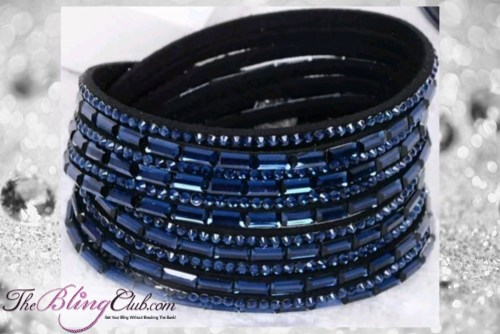 theblingclub.com super bling navy crystal vegan leather swarovski wrap bracelet