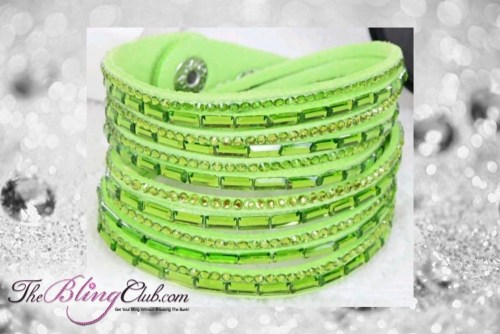 theblingclub.com super bling neon green crystal vegan leather swarovski wrap bracelet