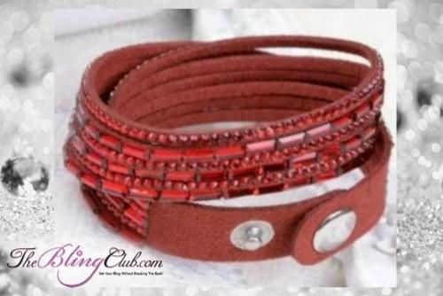 theblingclub.com super bling ruby red crystal vegan leather swarovski wrap bracelet
