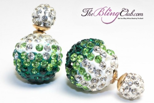 theblingclub green crystal shamballa earrings
