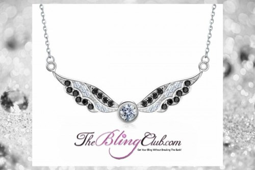 theblingclub.com black and white crystal swarovski angel wing necklace