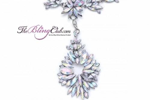 theblingclub.com black and white crystal swarovski antique vintage oval drop starburst convertible necklace closeup