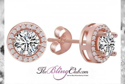 the bling club rose gold plated cystal round circle stud earrings