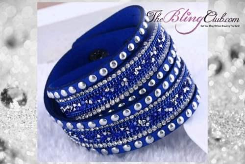theblingclub.com rockstud royal blue crystal wrap bracelet choker