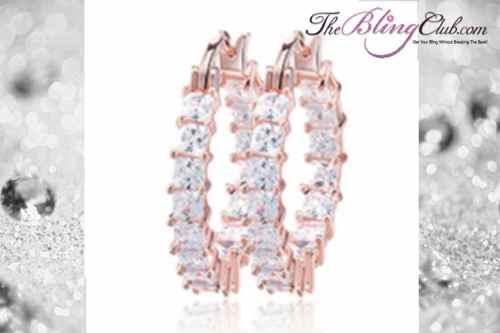 THEBLINGCLUB swarovski crystal inside outside clear rose gold hoop earrings