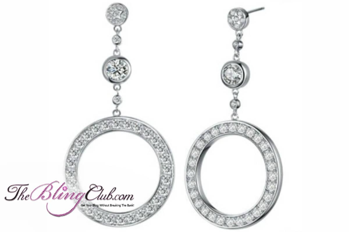 theblingclub.com circle drop platinum swarovski earrings