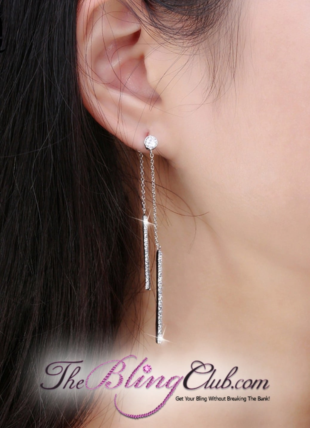 theblingclub.com pave crystal platinum plated front and back dangle chandelier earrings on model