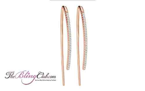 the bling club stick rose gold plated micro pave earring