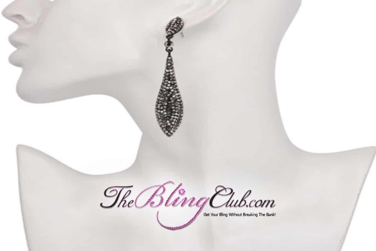the bling club lightweight black marcasite crystal dangle drop earrings