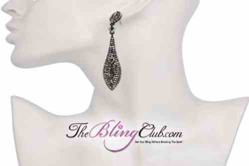 the bling club lightweight black marcasite crystal dangle drop earrings