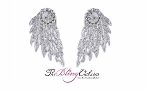 the bling club polished silver angel wing back stud earrings