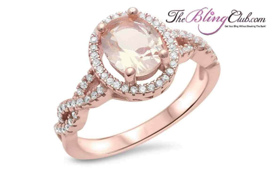 the bling club rose gold morganite oval ring with swarovski cystals