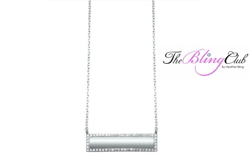 the bling club sterling silver cz engravable bar pendant