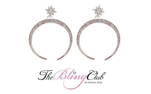 the bling club silver crystal moon stars lightweight earrings